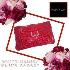 WHITE HOUSE BLACK MARKET NWT Croc Embossed Clutch